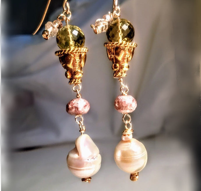 Baroque Pearl and Lemon Quartz Earrings