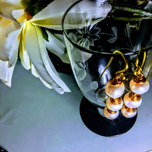Gold Wire Wrapped Pearl Earrings