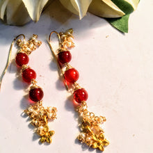 Red Agate Earring with Gold Flower