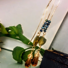 Long Smoky Quartz and Amber Earrings