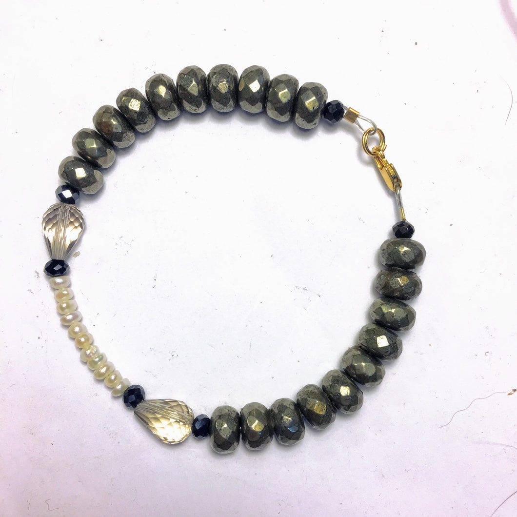 Pyrite Bracelet with Freshwater Pearls and Smoky Quartz