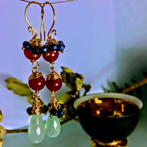 Red Agate Blue Chalcedony and Jet Earrings
