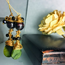 Green Agate and Garnet, Gold Wire Wrapped Earrings