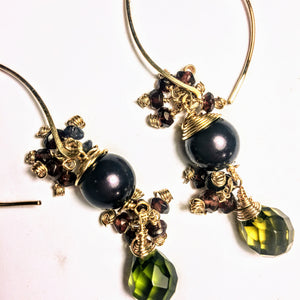 Pearl, Garnet, Iolite, and Peridot Earrings
