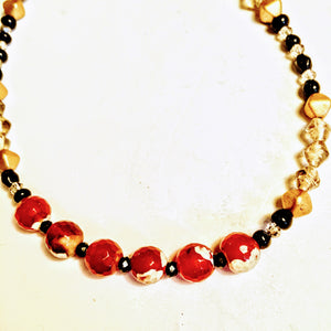 Red Agate Necklace with Austrian Crystals