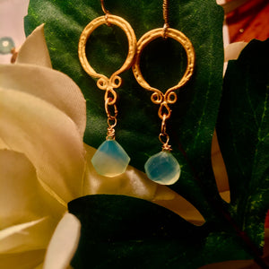 Blue Green Chalcedony Earrings