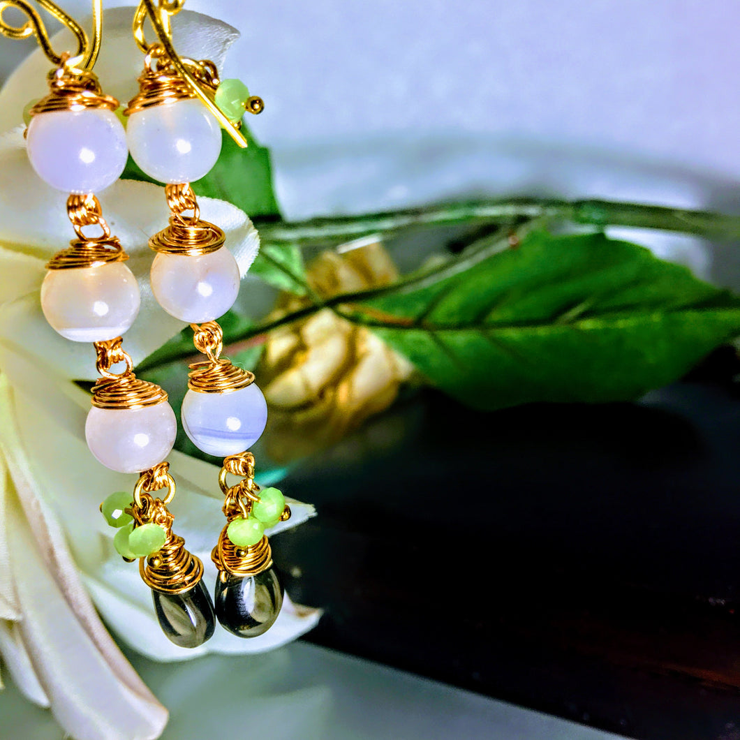 White Banded Agate Czech Glass and Quartz Crystal Dangle Earrings