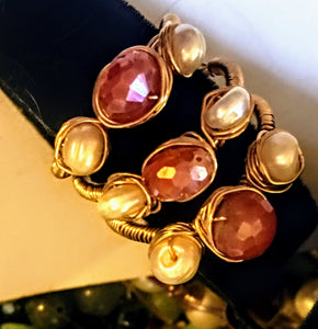 3 Stackable Silver Coated Carnelian Rings