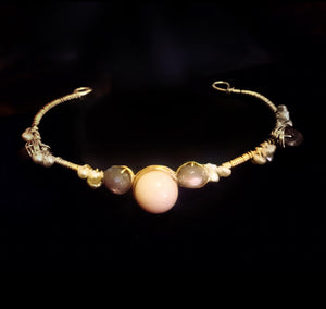 Chocolate Moonstone and Angel Skin Coral Cuff