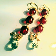 Red Agate and Green Amethyst Earrings with Pearl Accents