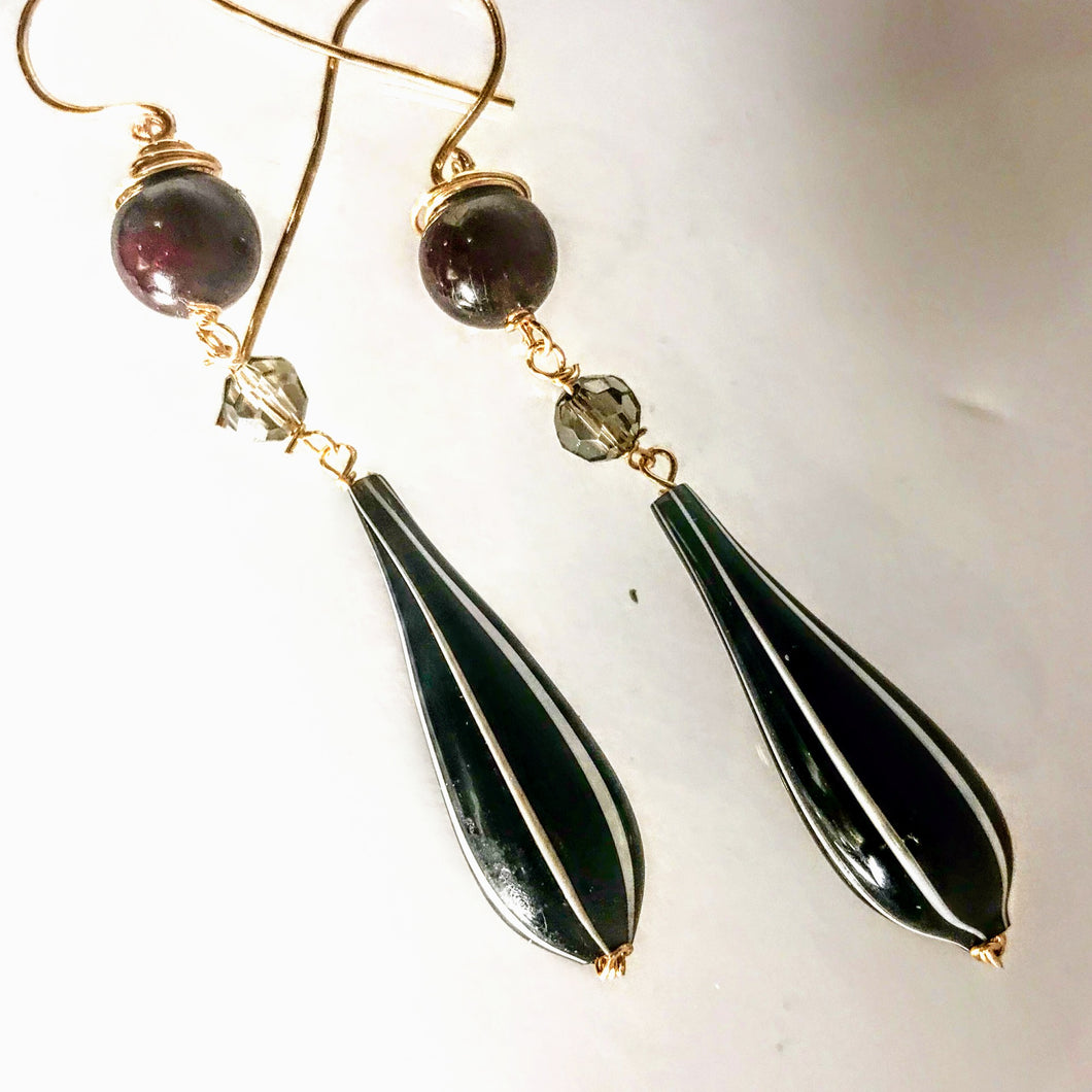 Italian Glass and Garnet Earrings