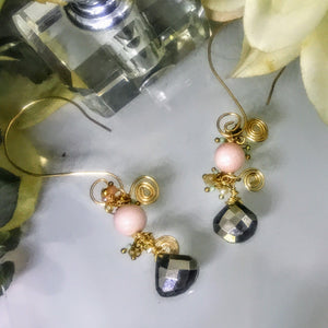 Angel Skin Coral and Pyrite Earrings