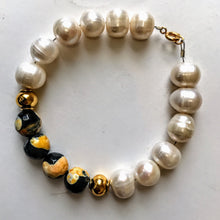 Yellow Agate and Pearl Bracelet
