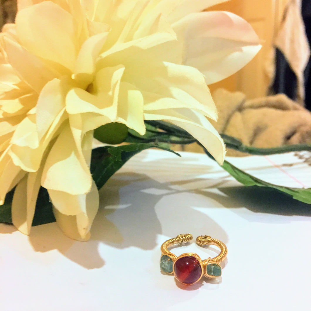 Carnelian and Apatite Ring