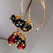Pearl, Carnelian, and Gold Wire Work Earrings