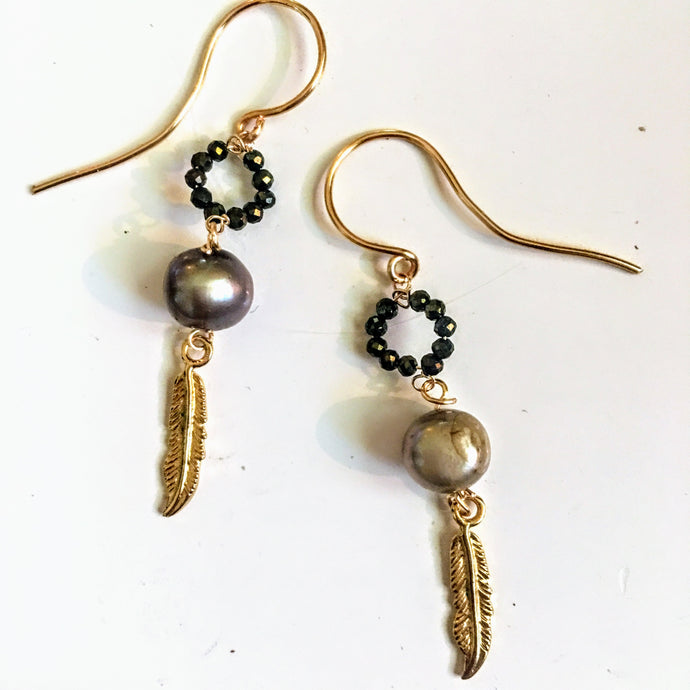 Lavender Pearl, Gold Feather, and Pyrite Earrings
