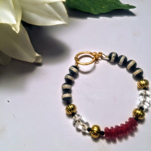 Crystal, Carnelian, and Striped Agate Bracelet
