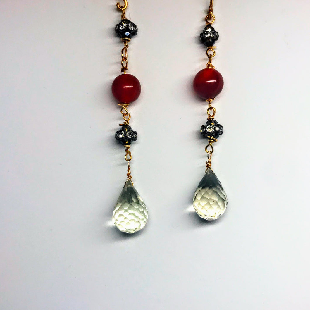 Carnelian and Green Amethyst Earrings