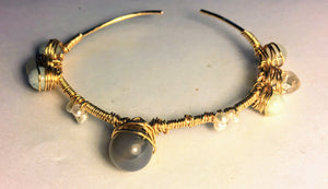 Grey Agate Stackable Cuff Bracelet with Aquamarine