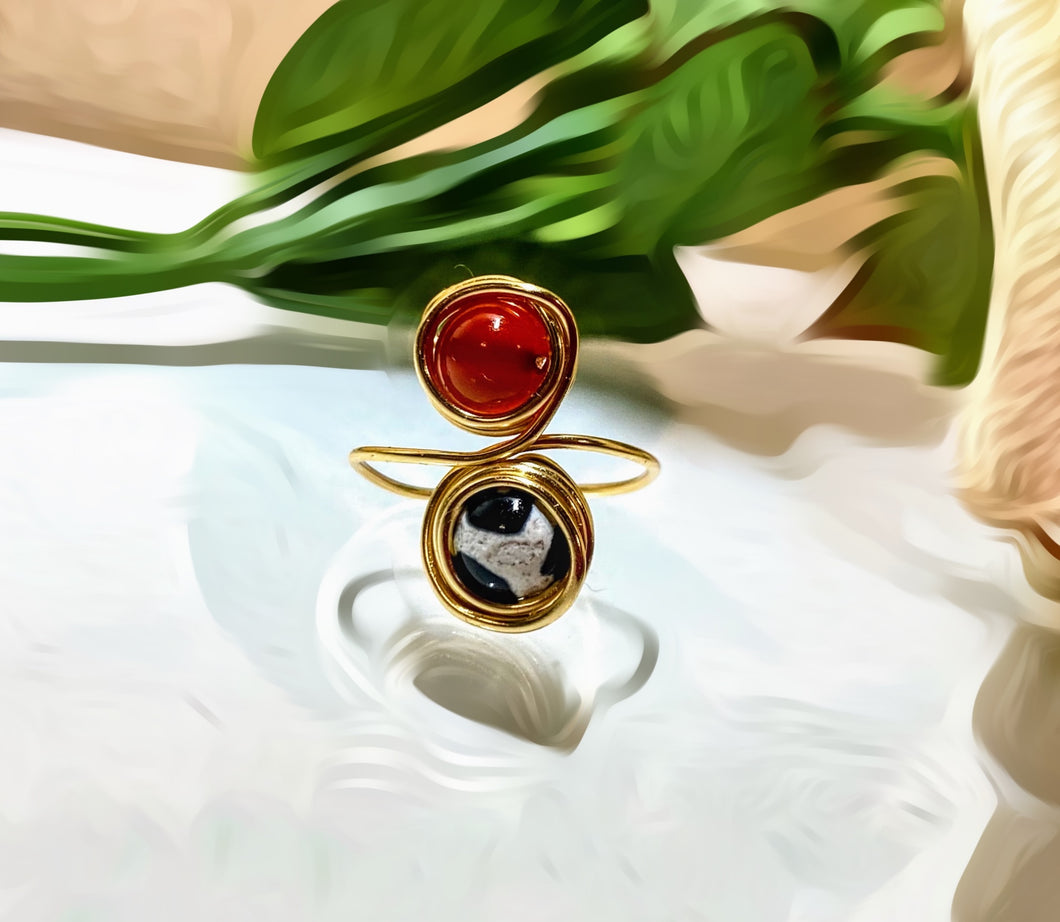 Carnelian and Agate Ring