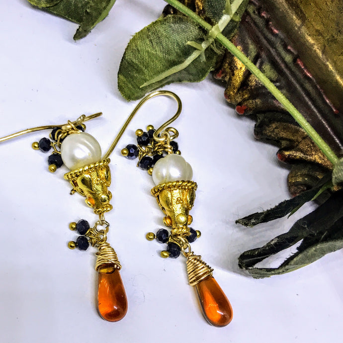 Ornate Pearl Earrings