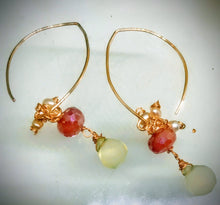 Silver Coated Carnelian and Chalcedony Earrings
