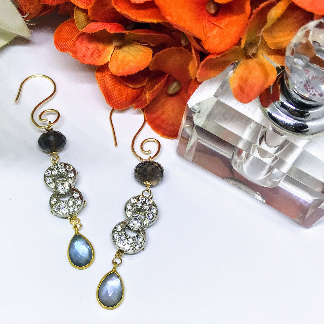 Smoky Quartz and Mother of Pearl Earrings