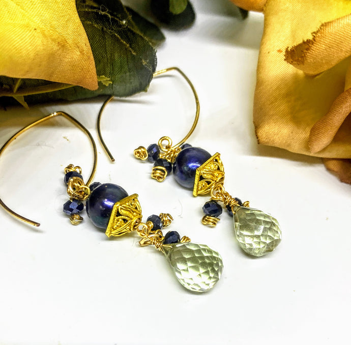 Peacock Blue Pearl Earrings
