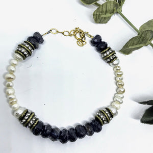 Sapphire and Freshwater Pearl Bracelet
