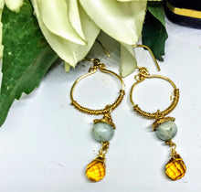 Amber and Aquamarine Earrings
