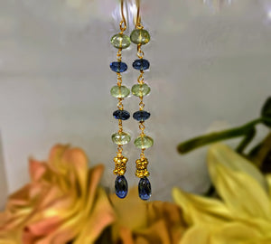 London Blue Topaz Earrings with Green Amthyst