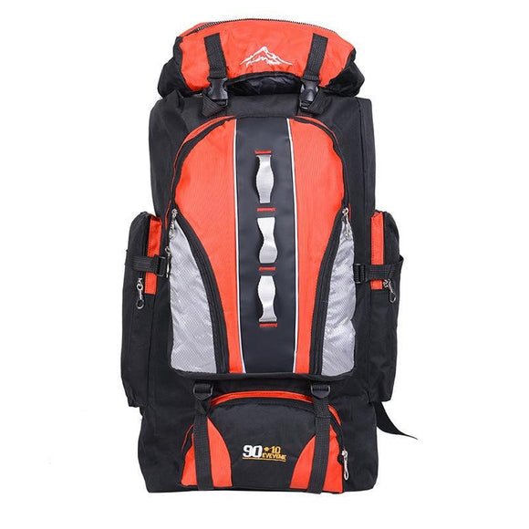 100L Large Capacity Camping Hiking Backpack-Sunset Orange-ERucks
