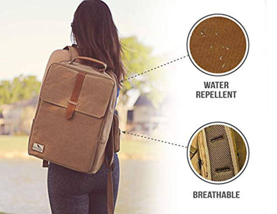 Vintage Styled Travel Canvas Laptop Backpack
