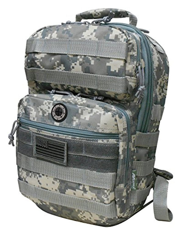 Grey Digital Camouflage Tactical Military Camping Hiking Outdoor Backpack w/MOLLE Straps & Hydration Pocket