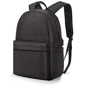 Black & Pink Dot Women's Laptop Backpack Nylon Book bag with USB Charging Port