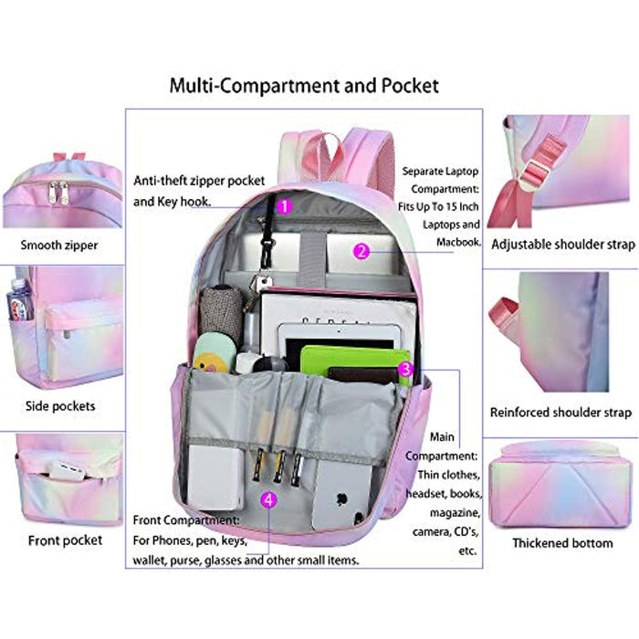 "Colorful Lightweight 15"" Laptop Backpack"