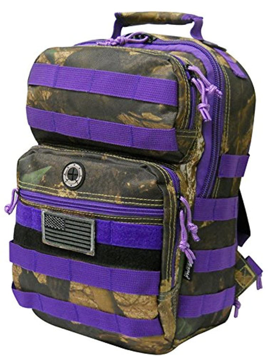 Purple Hunters Camo Tactical Military Camping Hiking Outdoor Backpack w/MOLLE straps & Hydration Pocket