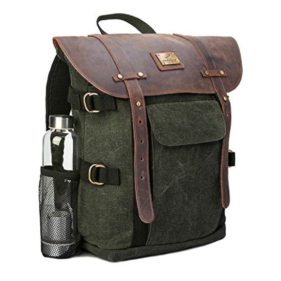 Genuine Leather & Canvas Vintage Travel Laptop Rucksack Backpack 15.6