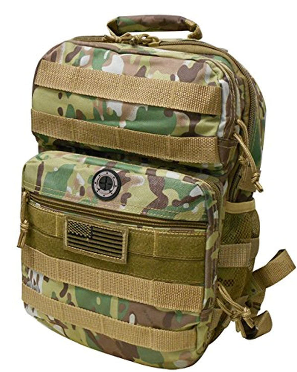 Multi Green Camo Tactical Military Camping Hiking Outdoor Backpack w/MOLLE straps & Hydration Pocket
