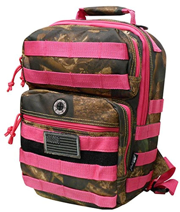 Pink Hunters Camo Tactical Military Camping Hiking Outdoor Backpack w/MOLLE straps & Hydration Pocket
