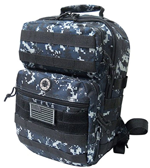 Navy Digital Camo Tactical Military Camping Hiking Outdoor Backpack w/MOLLE straps & Hydration Pocket