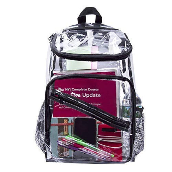 Deluxe Clear Backpack for Travel Stadium Security Rucksack with Laptop Compartment