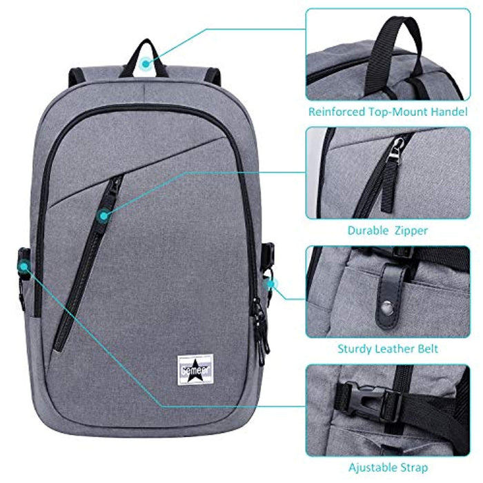 Laptop Backpack Computer Bag with built in USB charger for Women & Men