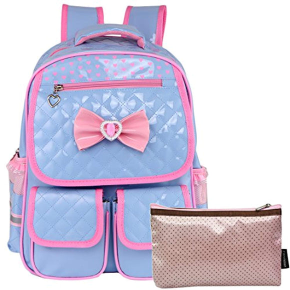 Girls School Backpack with Laptop Sleeve & Zippered Pouch Set
