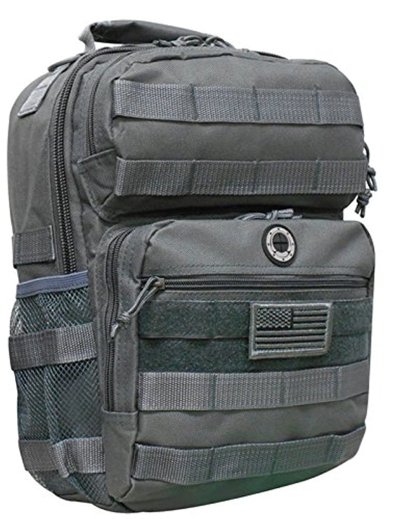 Gunmetal Grey Tactical Military Camping Hiking Outdoor Backpack w/MOLLE straps & Hydration Pocket