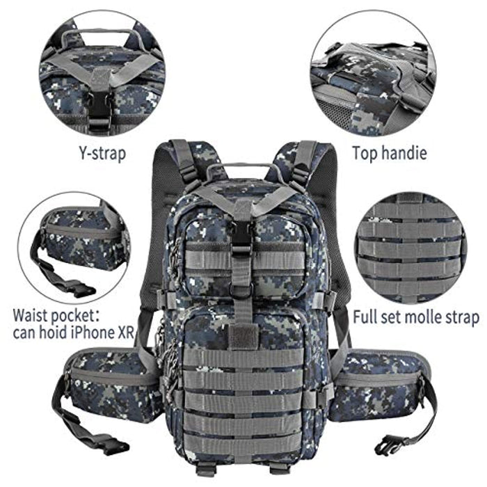 35L Military Tactical Backpack, Army Molle Bag, Rucksack for Hunting, Survival, Camping, Trekking