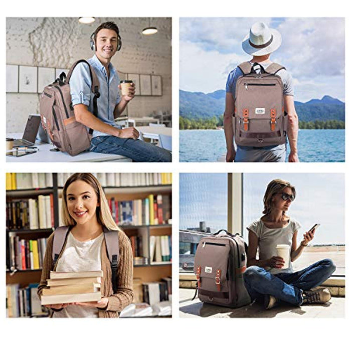 "Casual Vintage Style Backpack with USB Charging Port & 15.6"" Laptop Sleeve"