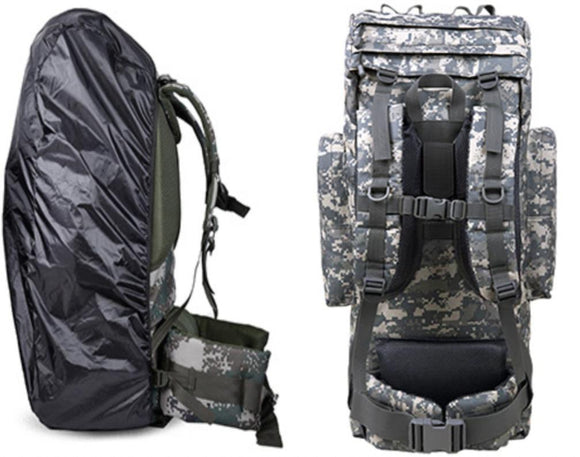 100L Internal Metal U Frame Military Rucksack Backpack Built-In Raincover