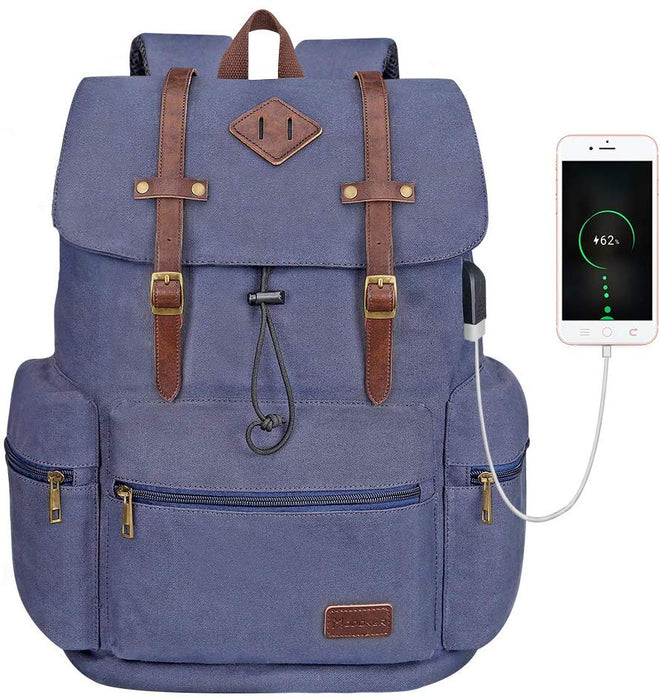"Vintage Style 15.6"" Laptop Rucksack with USB Charging Port"