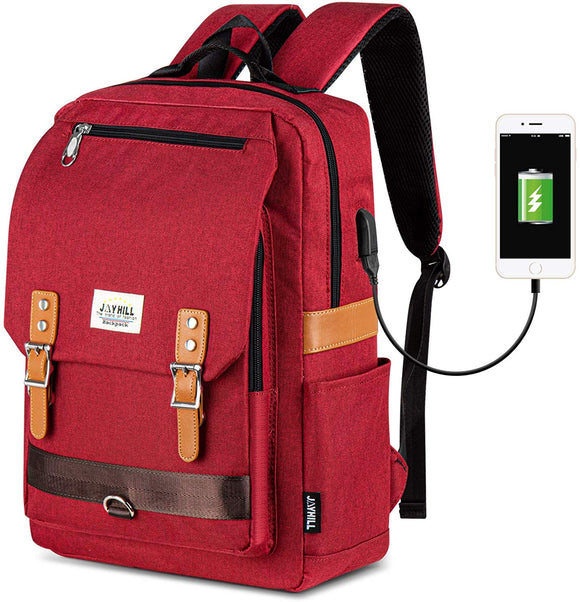 Casual Vintage Style Backpack with USB Charging Port & 15.6